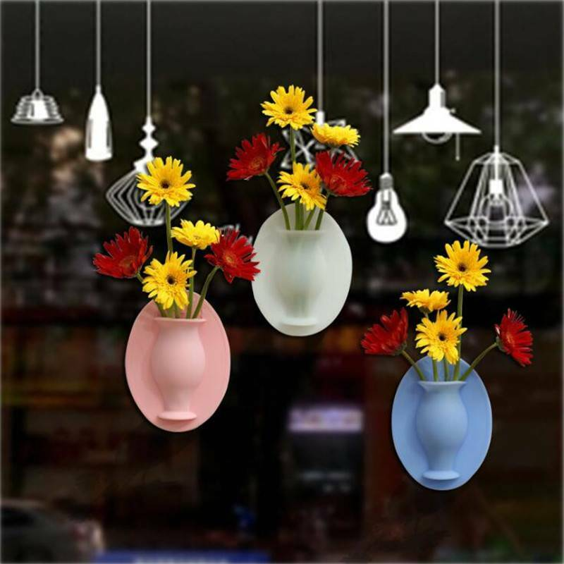 Magic Rubber Silicone Sticky Flower DIY Wall Hang Vase Container Floret Bottles.