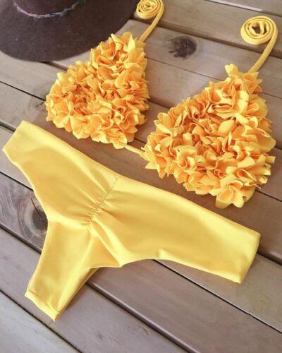 Womens Swimwear Bondage Swimsuit Bra New Triangle Bikini Push-up Padded Bathing