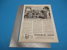 1945 Print Ad Republic Steel Wire Fencing Barbed Wire Nails Cleveland OhioPA1945