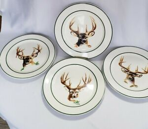 Cabelas-Set-of-4-Dinner-Plates-Boys-Of-Autumn-by-Phillip-Crowe-11-034-buck-deer