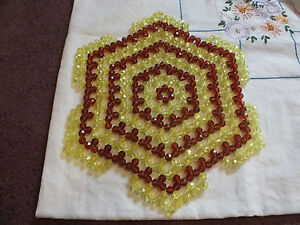 "Beautiful Collectible Handmade Plastic Beaded Doily Brown Yellow 10"" 70's Vibe"