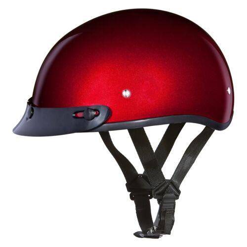 Daytona Helmets Skull Cap Solid 4X-Large Black Cherry Half Shell Helmet w Visor