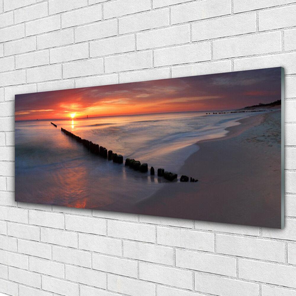Wall art Print on Plexiglas® Acrylic Acrylic Acrylic 125x50 Beach Sea Landscape 2aa9b0