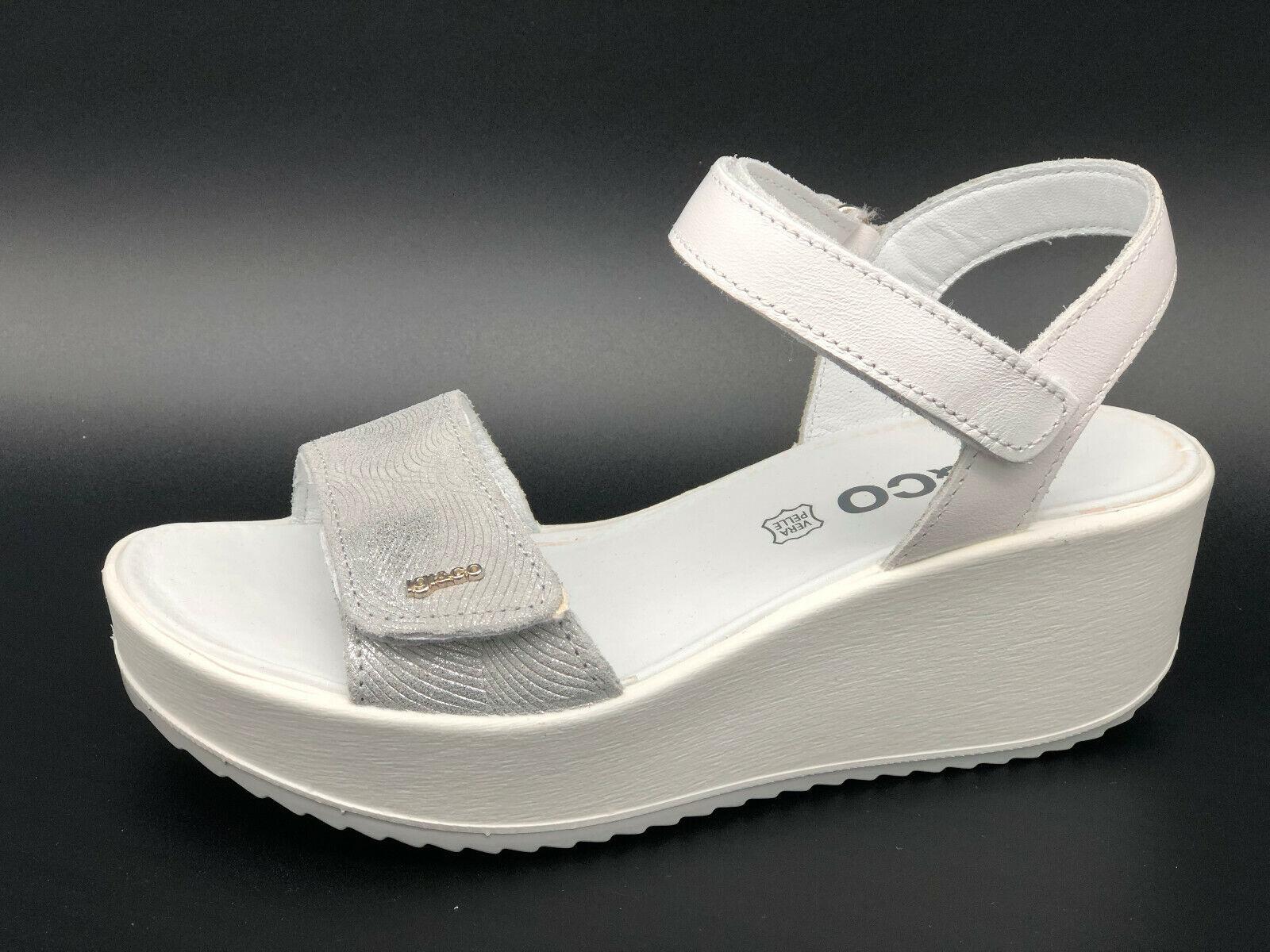 Sandali strappo Igi&co 3173177 pelle blancoo e plata zeppa 6 cm