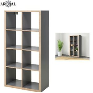 Image Is Loading Ikea Kallax Grey Wood Effect 8 Shelving Unit