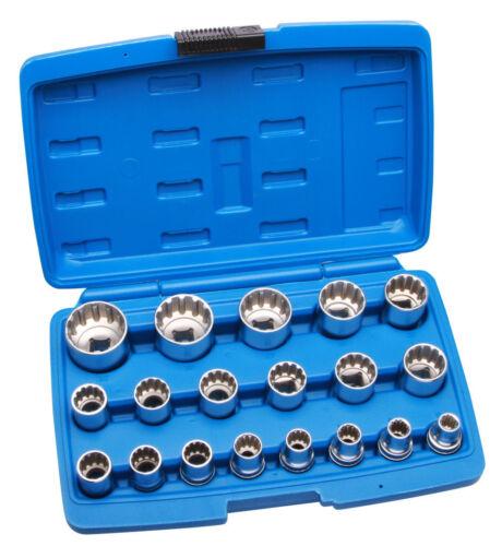 Steckschlüssel Satz 1//2 Zoll 8-32 mm Vielzahn Nüsse Torx Stecknüsse 19 tlg