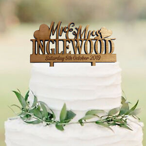 Details About Personalised Mr And Mrs Wooden Rustic Wedding Cake Topper Decoration Keepsake