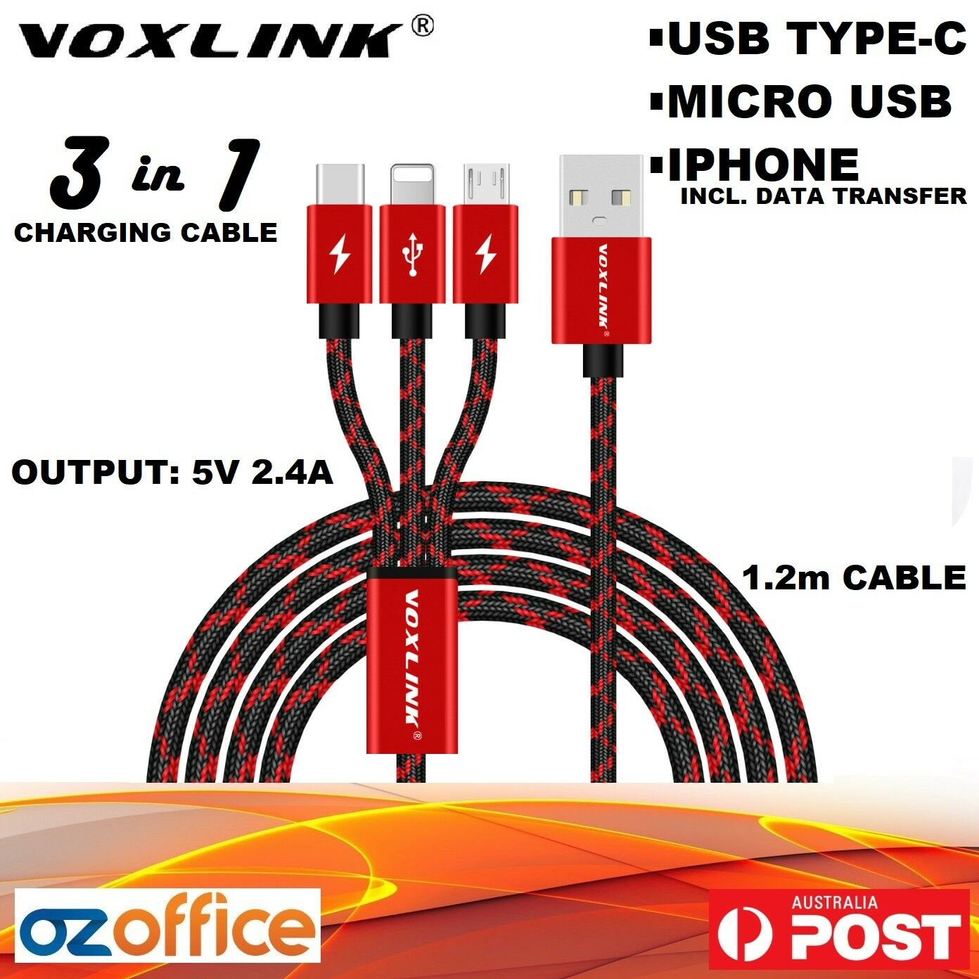 Voxlink 3 In 1 Multi Usb Charging Cable Iphone Data Sync Micro Type C Wiring A Durable Nylon Braided With Connections Which Covers Almost Every Phone On The Market