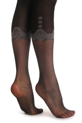 T001163 Black Faux Capri With Lace Buttons and Pockets