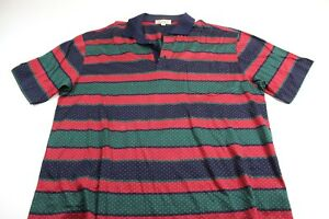 Arnold-Palmer-Made-In-Italy-Red-Green-Blue-Striped-POLO-SHIRT-Large-L