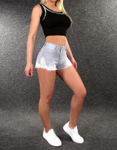 Stretch Jeans Shorts XS S M L XL ZAZOU Damen Bermudas Hot Pants kurze Hose SG702