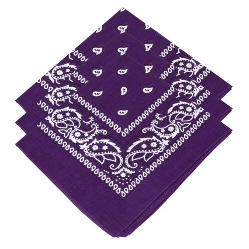 3 Mens Ladies Unisex 100/% Cotton Paisley Bandanas Scarf Purple Biker Bandana Tie