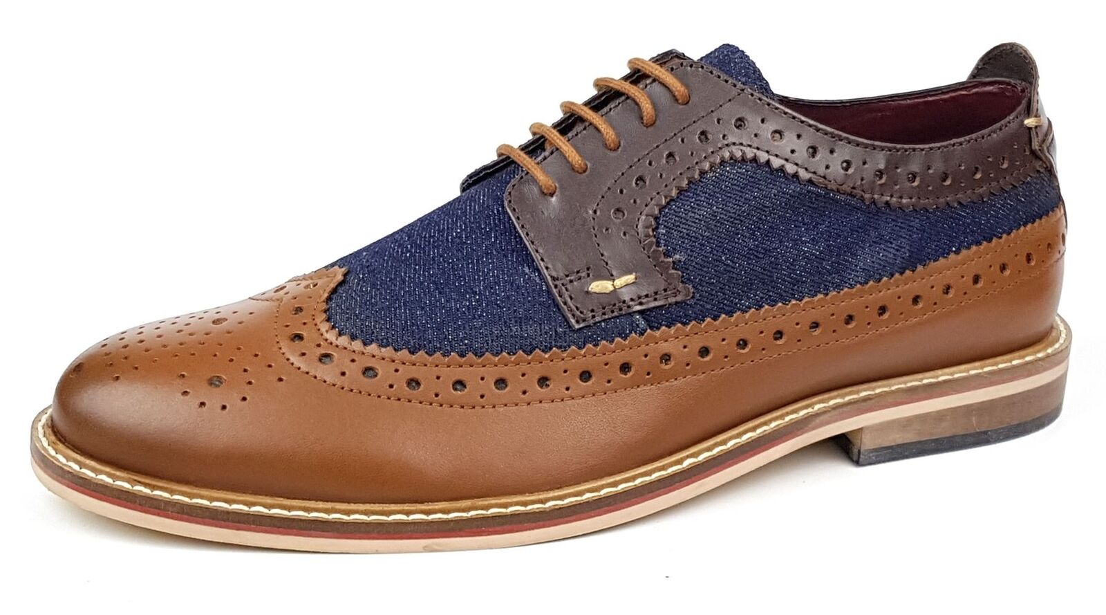 Frank James Lambeth Two Tone Lace Up Brogue Mens shoes Tan   Brown   Navy
