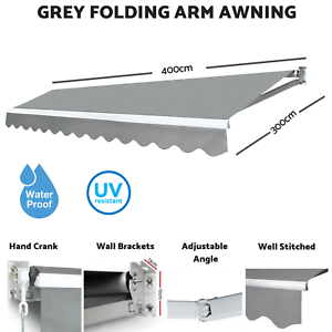 4m X 3m Outdoor Window Awning Folding Arm Canopy Adjust
