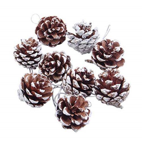 Pack de 12 blanche neige pomme de pin cônes Décorations pour arbres de Noël
