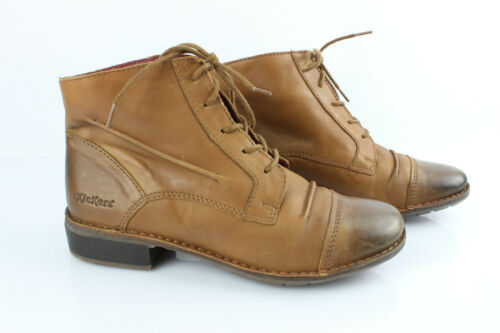 Kickers Boots Lace Leather Light Brown T 39 Very G
