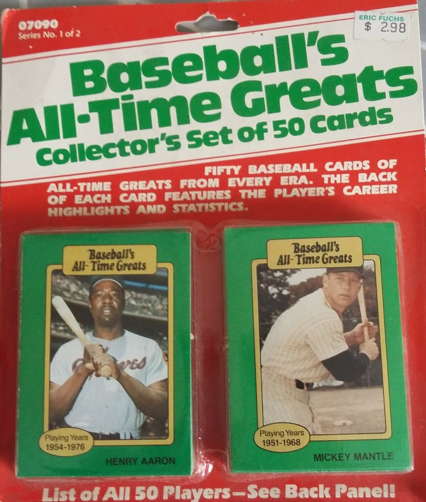 Baseballs All Time Greats Collector Set Of 50 Cards 09070 Vintage