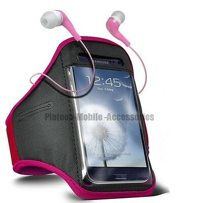 SPORTS RUNNING JOGGING ARMBAND CASE COVER AND EAR BUDS  FOR ALCATEL MOBILES