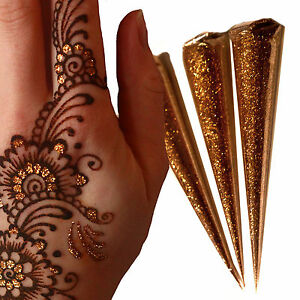 Gold Glitter Gel Cones Henna Tattoo Body Art Henna Gilding