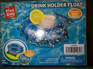 Play-Day-Swimming-Pool-Inflatable-Cup-Drink-Holder-Float-Glitter-Sparkles