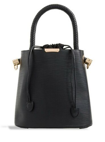 WOMENS BLACK FAUX LEATHER TOTE GRAB HANDLE LARGE BUCKET BAG HOLIDAY SHOULDER BAG