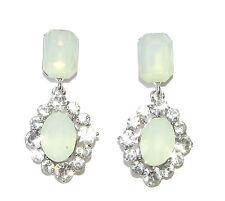 Silver Mint Green Faux Opal Earrings Diamante 1920s Drop Stud Chandelier 1111