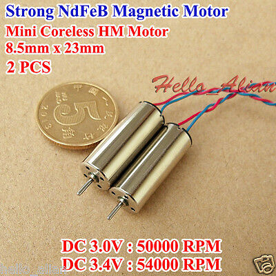 DC 3V-3.7V 40000RPM 8.5mm*23mm High Speed Magnet Hollow Cup Mini Coreless Motor