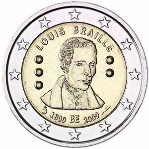 Belgien 2 Euro Münze Blindenschrift Louis Braille Gedenkmünze 2009