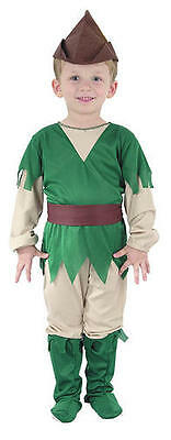 Childrens Robin Hood Fancy Dress Costume Peter Pan Outfit Boys Kids 2-3 Yrs