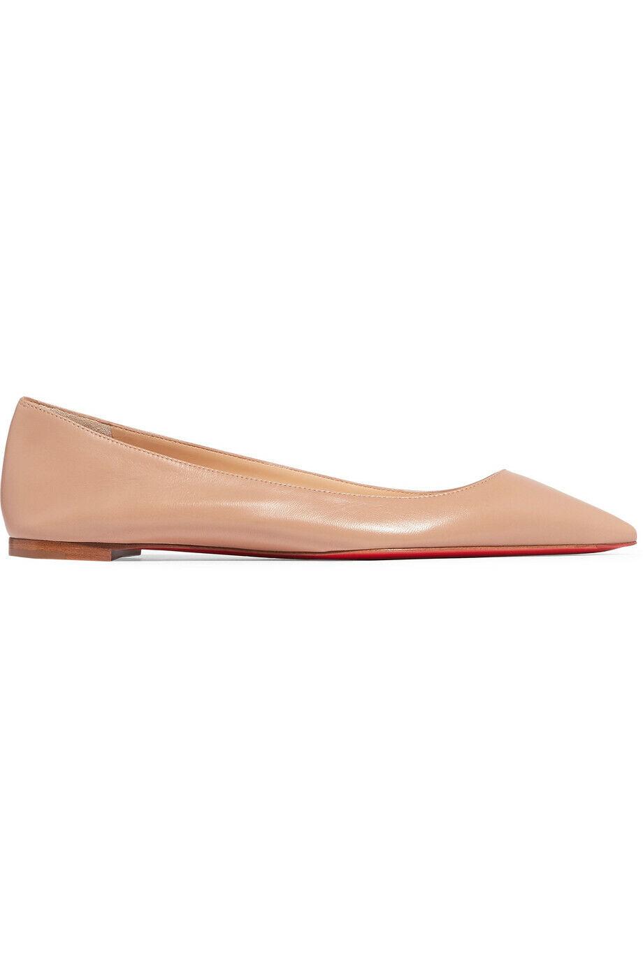 meet 53411 2b650 NEW Christian Louboutin ELOISE Leather Flat Ballerina Ballet Shoes Nude $695
