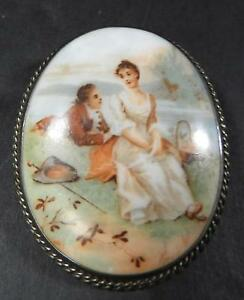 Antique-Hand-Painted-On-Porcelain-Brooch-of-Romantic-Couple-Sterling-Surround