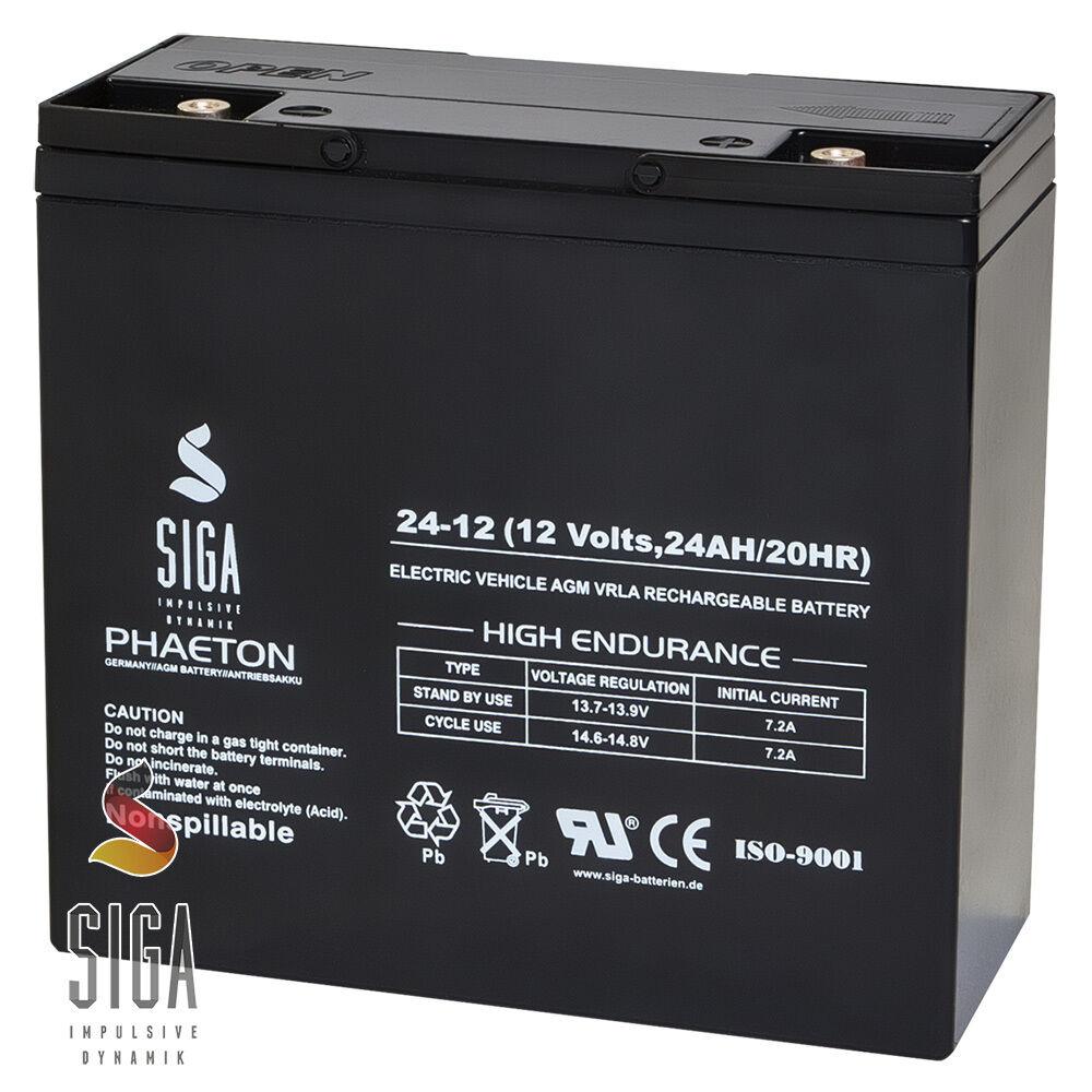 Blei Akku 12V 24Ah AGM Gel Batterie Gelakku ersetzt 17Ah 18Ah 20Ah 22Ah