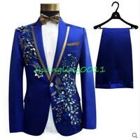 Mens Jackets Pants Singer Clubwear Wedding Floral Rhinestone Formal Stage Dress