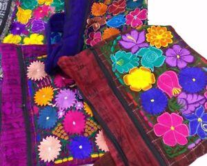 Guatemalan-Multicolor-Flowers-Boho-Hippie-Shoulder-Bag-Crossbody-Purse-Brown