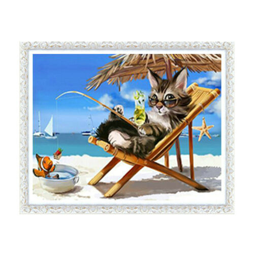 Christmas Cat Full Drill DIY 5D Diamond Painting Cross Stitch Kits Decor Mosaic