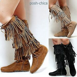 New Women Fby Tan Black Beige Fringe Moccasin Lace Up