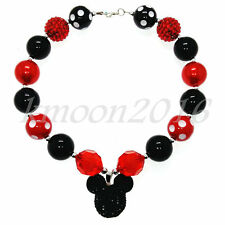 Black&red Chunky Beads Bubblegum Mickey Necklace for Kids Gumball X-MAS Gift
