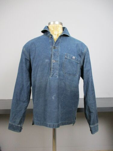 RRL Denim Popover Shirt Shawl Collar
