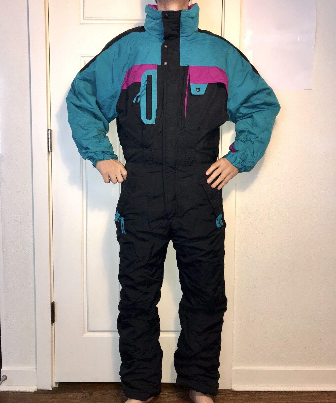 Vtg 80s 90s Herren Medium INSIDE EDGE One Piece SKI SUIT Snow Bib Snowsuit GAPER M