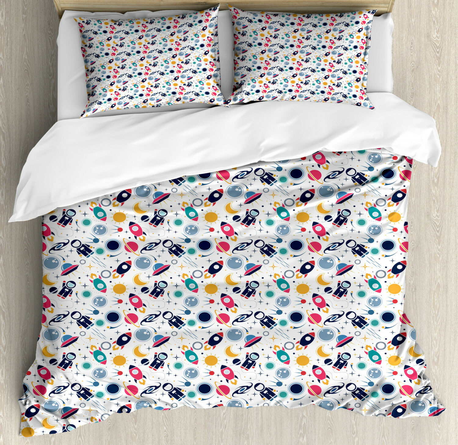 Spaceship Duvet Cover Set with Pillow Shams Space Silhouettes Print