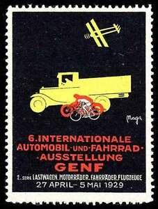 Switzerland Poster Stamp - Geneva 1929 Motor Vehicle Exposition - German