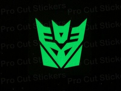 Decepticon Transformers Small Large Glow in the Dark Luminescent Stickers Decals
