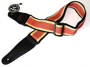 Embroidered-cloth-guitar-strap-RED-amp-YELLOW-for-electric-or-acousic-guitars