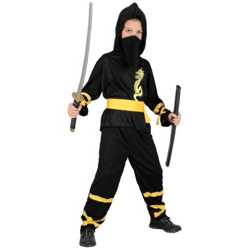 Child DRAGON NINJA Fancy Dress Book Week Costume Boys Samurai Warrior Age 3-13