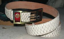 Krene White Tilapia Skin Men's Belt Leather size 42 Italy - NEW