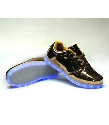Glidekicks Men's Gold Patent Leather LED Light Up Shoes Luminous Sneakers