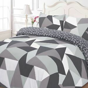 Formes-Geometrique-Set-Housse-de-Couette-Simple-Reversible-Triangles-Noir-Gris