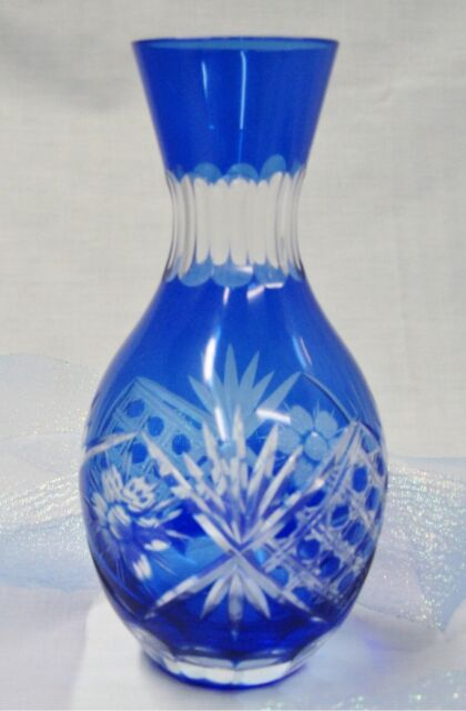 Cobalt Blue Hand Cut Glass Floral Bud Vase With A Rounded Bottom Ebay