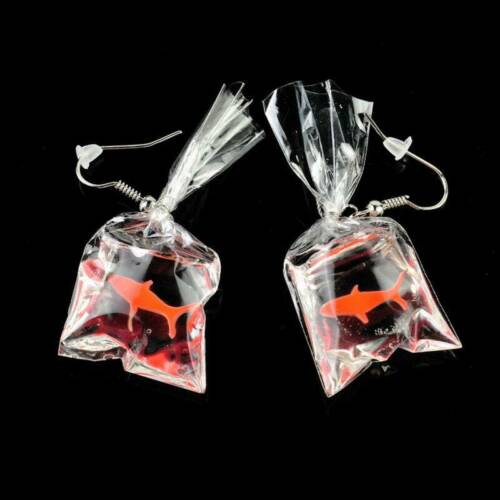 Creative Resin Goldfish Fish Bag Drop Dangle Hook Earrings Women Fashion Jewelry