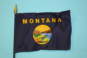 MONTANA desk flag -- 4x6 inch on plastic staff with spear point